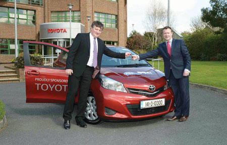 Pictured are Ken Fox, CEO, Disabled Drivers Association of Ireland, receiving the keys of the Toyota Yaris Multi Drive from Cathal Ryan, fleet sales manager, Toyota Ireland.