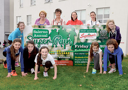 Pictured at the launch of the 5k Super Run for Salerno are Vicki Byrnes, Sr Gerarda Lawler, Eilish Fleming (Supermac's), and Danielle Waterstone, with students Lily Rose MacKenzie, Sarah Cusack, Tara Ferns, Grace Walsh, Alice Woods and Alison O'Connor. Photo: Brad Anderson, Photo One Studios.