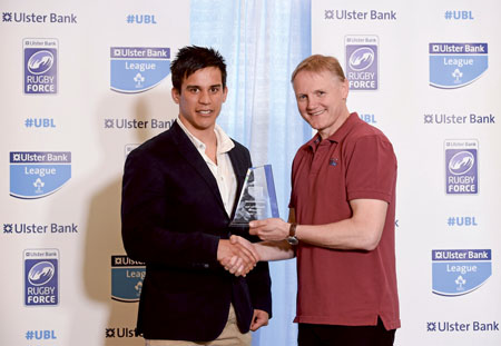 Jerome Harrimate, Ulster Bank League division 2A Player of the Year, with Ireland coach Joe Schmidt.