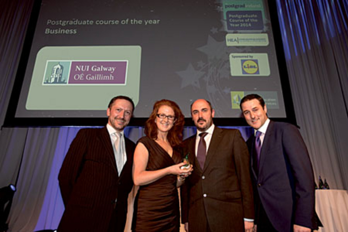Pictured receiving the the Best Business Postgraduate Course of the Year Award' at the national gradireland Graduate Recruitment Awards 2014 were (l-r): Gavin O'Brien, commercial manager gradireland; Ann Walsh, programe director of MSc in marketing practice, NUI Galway; Dr Kieran Conboy, Dean of NUI Galway's College of Business, Public Policy and Law; and Paul Martin, head of HR with Lidl Ireland.