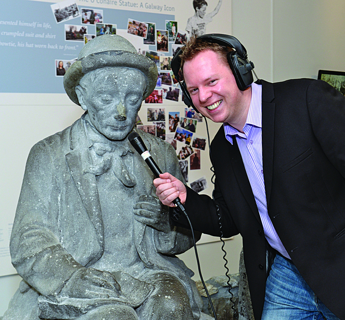 Garry Kelly of GK Media who has been working with Galway City Museum to make their podcasts available on iTunes, with Galway's own Sean Phádraic Ó Conaire. Photo: Joe Travers.