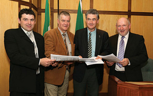Independent local election candidates hand in their nomination papers to John Condon, returning officer, Mayo County Council, in Áras an Chontae, Castlebar. From left: Enda Lavelle, Ballina electoral area; Cllr Christy Hyland, West Mayo electoral area; John Condon and Cllr Michael Kilcoyne, Castlebar electoral area. Photo: Michael Donnelly.