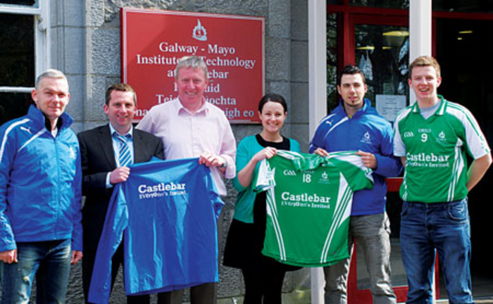 Everyone's invited: President of Castlebar Chamber Sylvester Jennings recently made a presentation of jerseys and jackets emblazoned with the logo 'Castlebar - Everyone's Invited', sponsored by Castlebar Chamber, to the GAA team at GMIT Mayo campus.  Photographed, from left, are: James McArdle, vice president, GMIT Mayo Student's Union; Sylvester Jennings, Castlebar Chamber; Michael Feeney, GMIT Gaelic Men's team manager; Frances Toner, Castlebar Chamber; Con Murphy, incoming president, GMIT Mayo Student's Union, and Mark Duffy, outgoing president, GMIT Mayo Student's Union.