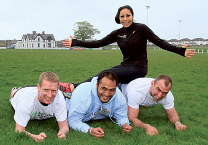 "Hurling star Ollie Canning and Connacht Rugby's George Naoupu and John Muldoon, join Sene Naoupu in a demonstration of ""planking"" at the launch of ""We're Planking It"" a novel fundraiser for five Galway charities and an attempt at a new Guinness record."