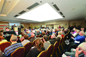 The crowd at O'Donnellan & Joyce's all day property auction on Friday.