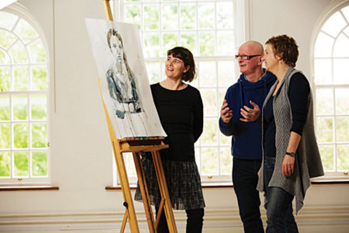 Taking it in: Pictured at GMIT Mayo, launching details of the new part-time BA (hons) in fine art are Patricia Bushe, Painting lecturer; Fergus Delargy, Painting lecturer; and Annette Raftery, Sligo, final year student. Photo: Keith Heneghan / Phocus.