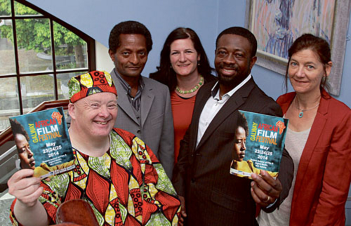 At the launch of the Galway African Film Festival which will take place this weekend were (l-r); Clement Moylan, Dems Wold, Elske Breathnacht, Victor, and Gaie Stewart. Photo:-Mike Shaughnessy.