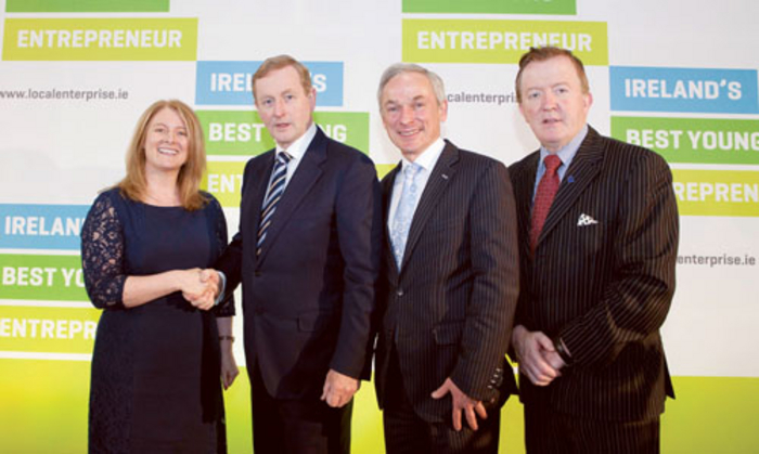 Pictured at the launch of this Young Entrepreneur Competition are: Christine Charlton, head of Local Enterprise, Local Enterprise Office, Westmeath; An Taoiseach Enda Kenny; Minister for Jobs, Enterprise and Innovation, Richard Bruton; and Deputy John Perry, Minister for Small Business.