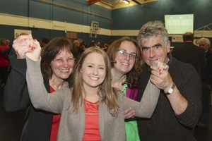Sinn Fein's Mairead Farrell with her mother Jenny, sister Medb and father Niall after being elected to Galway City Council at the count in Westside Community Centre on Saturday. Photo:-Mike Shaughnessy