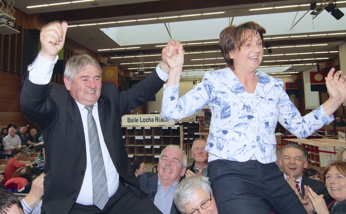 Mogie Maher (FG) and Anne Rabbitte (FF) celebrate being elected in the fourth count in Loughrea. Photo: Mike Shaughnessy.