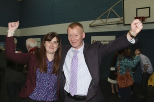 Sinn Féin's Anna Marley and Cathal Ó Conchuir celebrate their election to City Hall at the count in the Westside Community Centre on Sunday. Photo:- Mike Shaughnessy