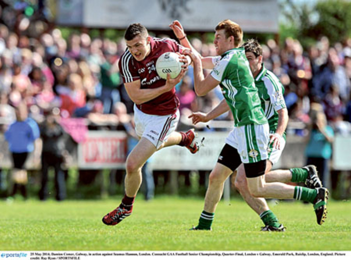 Galway's Damien Comer in action against Seamus Hannon in the Connacht GAA Football Senior Championship, Championship quarter-final in Emerald Park, Ruislip, London, England. Picture: Ray Ryan/SPORTSFILE