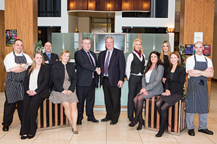 Pat McDonagh, owner of the Loughrea Hotel & Spa, with new general manager Noel Mulhaire and members of staff at the announcement of a  €1m refurbishment.