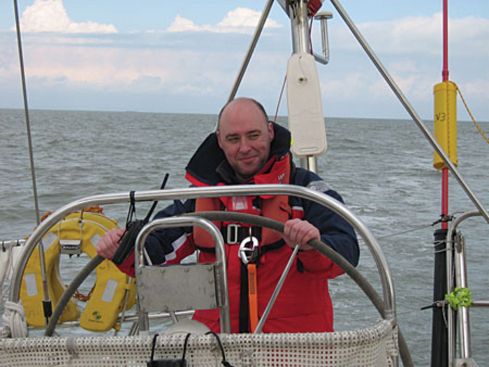 Jim Molloy training for the Clipper Round the World Yacht Race.