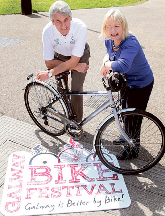 Mick Curley of Galway Sports Partnership with Helena Martyn of Galway City Council at the launch of Galway City Council's Galway Bike Festival.  					Photo:- Mike Shaughnessy