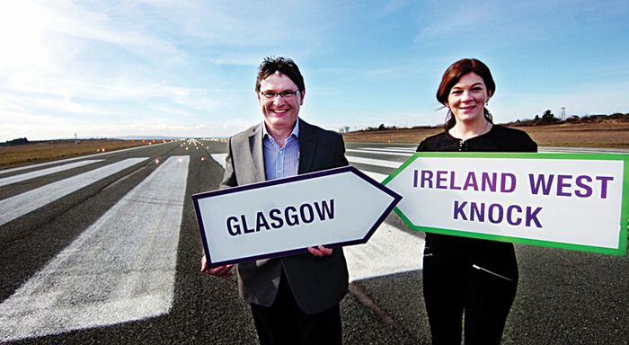 Pictured at the launch of the new Glasgow service with Ryanair from Ireland West Airport Knock were Joe Gilmore, managing director, Ireland West Airport Knock ,and Maria Macken, marketing manager, UK and Ireland, Ryanair.