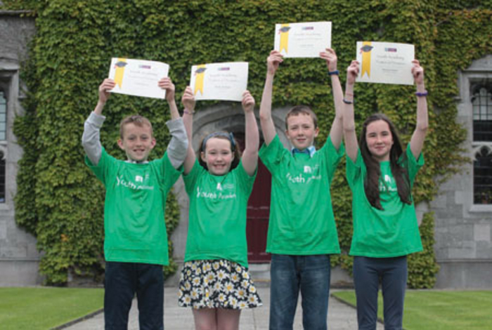 Graduating from NUI Galway's Youth Academy were (l-r) Ciaran Morris (11), Molly McHugh (11) and Conor (11) and Shannon Glynn (12) from Castlehackett National School, Belclare, Co Galway.