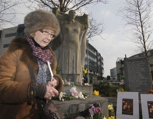 Author Patrica Burke Brogan at The Magdalen Women Memorial, Forster Street. Photo:- Mike Shaughnessy
