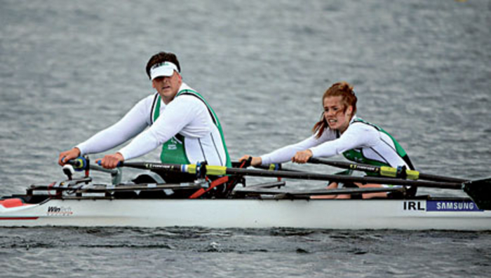 Galway's Katie O'Brien and Keith Connolly competing for Ireland at the 2013 World Cup 2.