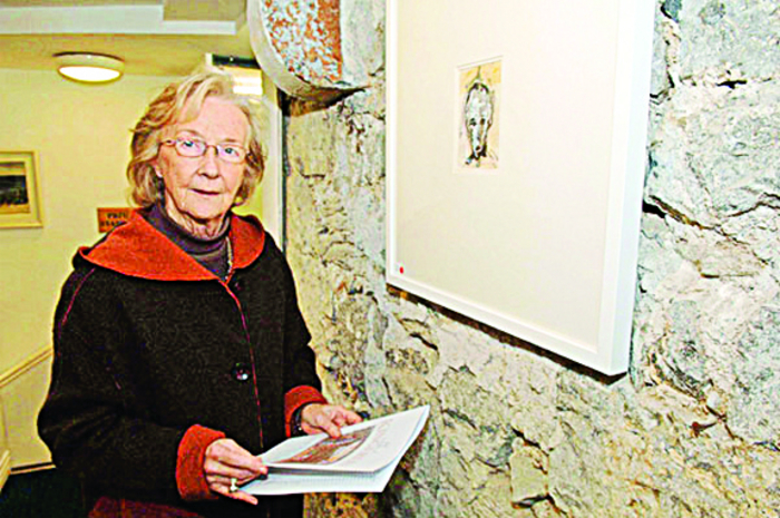 Patricia Burke Brogan at an exhibition of her etchings, some years after she left the convent. Her autobiography, Memoir with Grykes and Turloughs, will be launched at the Galway Education Centre at 6pm on July 1 by Ms Sabina Higgins.