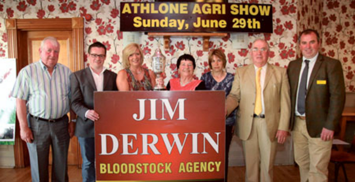 Brendan Gaffey; Cllr Michael O'Brien; Gillian Kinahan, equine secretary; Mary Ledwith; Joan McGuire, assistant equine secretary; George Ledwith; and Finn O'Sullivan, Top Spec Feeds pictured at the launch of the Athlone Agri-Show and Food Festival 2014