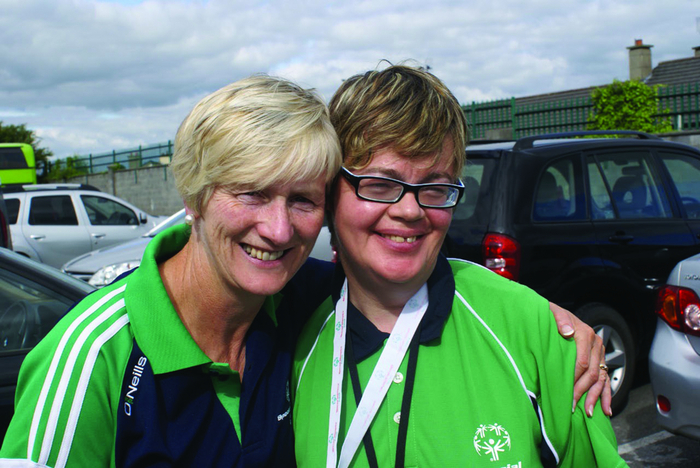 Teresa Ward with Martina Walsh, siver and gold medallist at the Special Olympics national games.