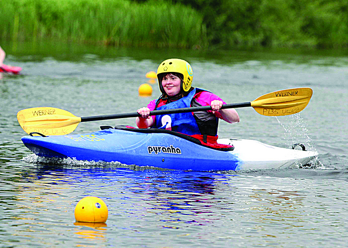 Deirdre Garvin, Claremorris, paddles for Team Connacht in the kayaking event at the Special Olympics National Games in Limerick.