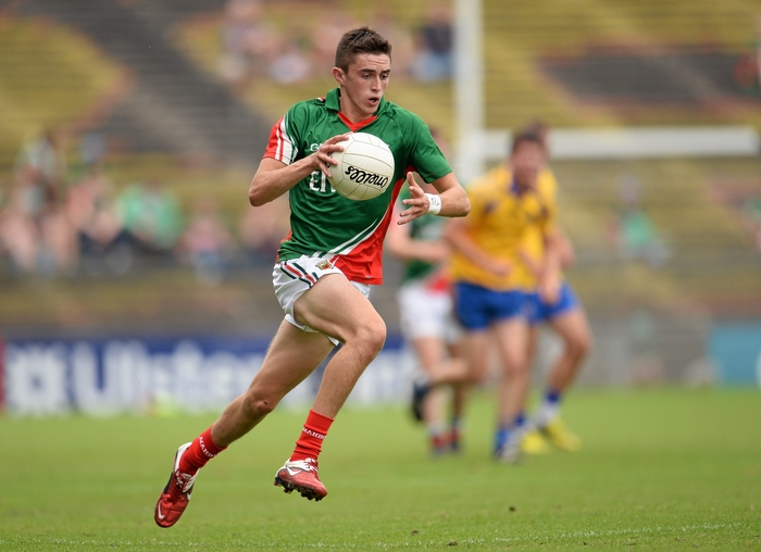 Leading the line: Cian Hanley was in fine form for the Mayo minors against Galway. Photo:Sportsfile