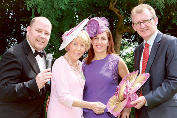 Attending the launch of 'First Furlong' at The Ardilaun in aid of The National Breast Cancer Research Institute (NBCRI) were: Tenor Frank Naughton, NBCRI chairperson Anna O'Coinne, Maria Kelly, and John Ryan of The Ardilaun hotel.