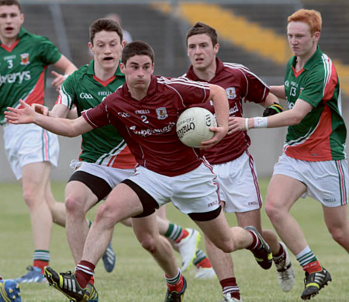Galway's Ruairi Greene looks for support  in Saturday's Electric Ireland Connacht Minor Football Championship semi-final at Tuam Stadium. Photo:-Mike Shaughnessy