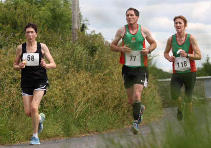 Mayo AC runners in action at Irishtown Padraic Cullina Memorial 8k l-r: Pauline Moran, Ambrose Gaughan, and Chris Gallagher
