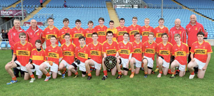 Castlebar Mitchels u16 football team and management pictured after defeating Westport in the Bord na nÓg u16 League division one final in Elverys MacHale Park, Castlebar.  Photo: Michael Donnelly