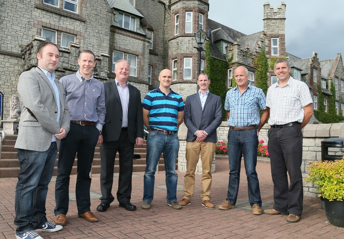 Ready to talk: At the launch of the www.advertiser.ie Connacht championship final vodcast in Breaffy House Resort were Colm Gannon (Mayo Advertiser, Sports Editor), Alan Flynn (Advertiser.ie, Digital Sales Manager), Peter Timmins (Advertiser Group Managing Director), Ray Silke, John Casey, John Maughan and Kevin Walsh. Photo: Michael Donnelly