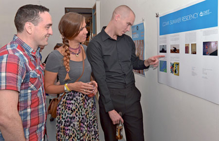Pictured at the 126 Gallery at the launch of the GMIT Centre for Creative Arts & Media inagural summer residency programmes were Enda McDonagh, Salthill, Naoise McDonagh, Rahoon, and Agata McDonagh, Rahoon. 	Photo: Joe Travers.