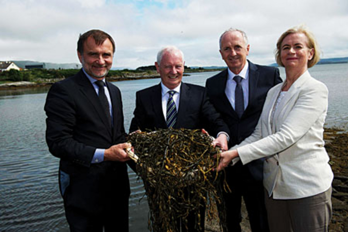 Arramara Teoranta, a seaweed processing company located in Cill Chiaráin, Conamara, is now under the new ownership of the Canadian company Acadian Seaplants Limited. At the transfer celebration were Jean-Paul Deveau, chairperson of Arramara Teoranta and president of Acadian Seaplants Limited; Dinny Mc Ginley  Minister of State at the Department of Arts, Heritage and the Gaeltacht; Dónall Mac Giolla Bhríde, general manager, Arramara Teoranta; and Anna Ní Ghallachair, chairperson, Údarás na Gaeltachta. Photo: Andrew Downes.