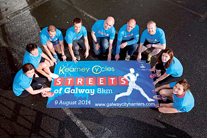 Members of Galway City Harriers  at the launch of the 2014 Kearney Cycles Streets of Galway 8K Road Race which takes place on August 9.