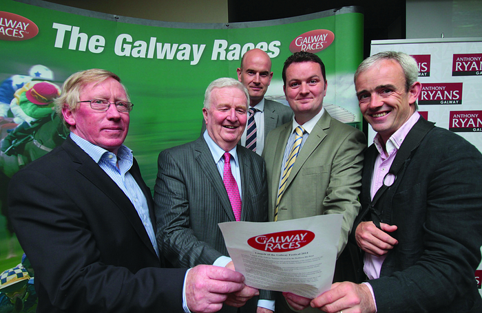 Launching this year's Galway Races were (l-r) John Moloney ( manager Galway Racecourse), Terry Cunningham ( racecourse chairman), Ray Sheehan of Diageo, Pat Brennan of Tote Ireland, and jockey Ruby Walsh. Photo:-Mike Shaughnessy