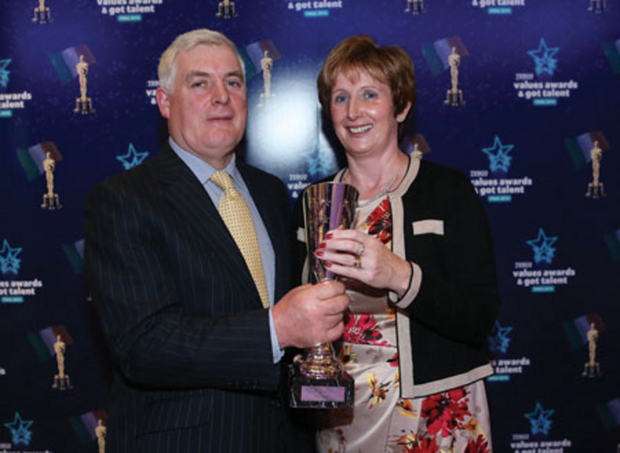 Pictured at the Tesco Values Awards and Got Talent finals at the DoubleTree Hilton Hotel in Dublin was Jimmy Cullen, customer assistant in Tesco Ballina, who was presented with his Service Superstar award by Nuala Donnelly.