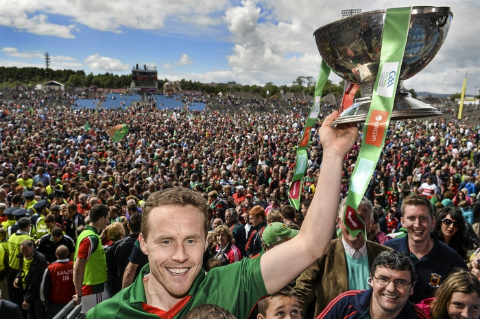 Captain Fantastic: Andy Moran lifts the Nestor Cup in MacHale Park. Photo:Sportsfile