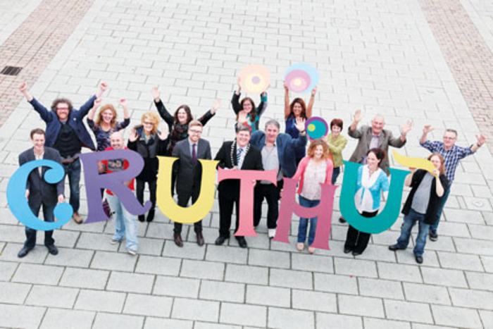 Organisers and artists help launch Cruthú Arts Festival. Photo: Shelley Corcoran.