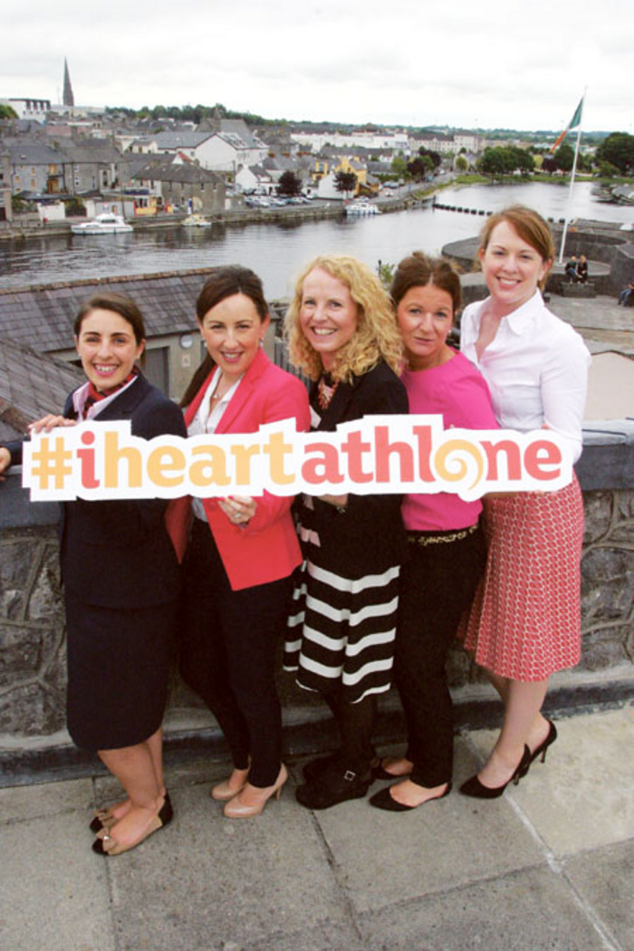 Victoria Whelan, Athlone Springs Hotel; Tanya Flynn, Radisson Blu Hotel Athlone; Carmel Duffy, Athlone Arts and Tourism; Kathleen Shine, Shamrock Lodge Hotel; and Grainne Cornally, Sheraton Athlone Hotel celebrate the launch of the Destination Athlone campaign to support local tourism in Athlone and lakelands.