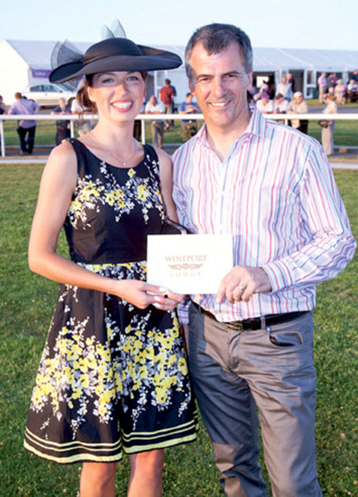 Winner of the 2013 Ladies Day Best Dressed competition at Kilbeggan Races was Marie Therese Nally, pictured here with Ray Byrne of Wineport Lodge
