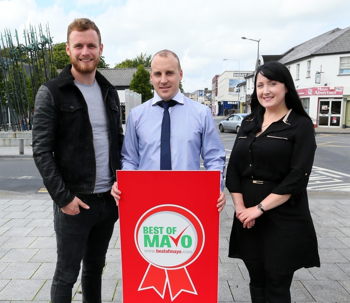 MAYO'S BEST: He is Mayo's best on the GAA field. Are you Mayo's best in your field? Mayo goalkeeper Robert Hennelly launches the Best of Mayo business awards for 2014 with Sean Walsh and Carol Foley, advertising sales executives with the Mayo Advertiser. For more information on the Best of Mayo Awards see page 21. Photo: Michael Donnelly.