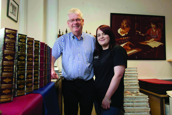 Gerry and Caroline Kenny at Kenny's Bookbindery, Galway. Photograph by David Ruffles
