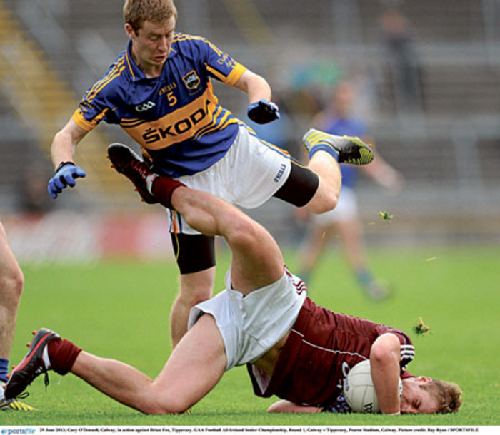 Galway's Gary O'Donnell in the thick of it in last year's All-Ireland Senior Championship victory against Tipperary at Pearse Stadium.