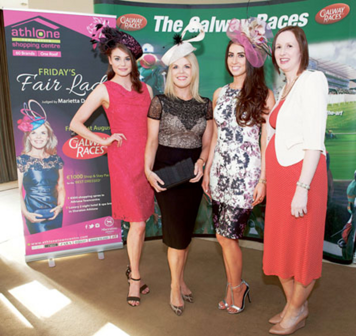 Pictured at the launch of the Galway Races recently are stylist Marietta Doran and Athlone Towncentre marketing manager, Shirley Delahunt with models Kate Harris and Nuala Gorham from Catwalk Modelling Agency