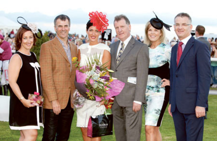 Fiona Hayes, stylist for Dundrum Town Centre and Best Dressed judge; Ray Byrne, Wineport Lodge; Lisa McGowan, winner of Best Dressed Lady; David Hanevy, Dundrum Town Centre; Marietta Doran, judge; and Paddy Dunican, Kilbeggan Races.