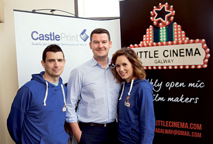 Pictured are Kenny Gaughan of the Little Cinema Galway, Gary Colohan, sales and marketing executive at Castle Print and Julia Puchovska of Little Cinema Galway, standing by their newly printed banner.