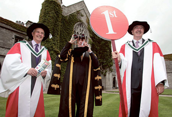As the Galway race festival continues, NUI Galway today conferred honorary degrees on two outstanding individuals from the world of Irish horse racing. Dermot Weld and Jim Bolger were both conferred with Degree of Doctor of Arts (honoris causa). Pictured (l-r) Jim Bolger, president of NUI Galway Dr Jim Browne and Dermot Weld.