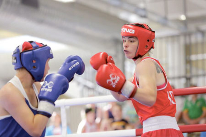 Cheyanne O'Neill in action in Assisi, Italy last week on her way to a silver medal at the European Youth Boxing Championships.